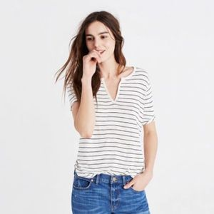 Madewell | Anthem Slit Neck Tee in Shelby Stripe